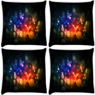 Snoogg Pack Of 4 Multicolor Bubbles Digitally Printed Cushion Cover Pillow 10 x 10 Inch