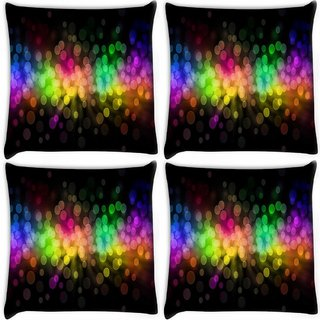 Snoogg Pack Of 4 Multiple Colorful Bubbles Digitally Printed Cushion Cover Pillow 10 x 10 Inch