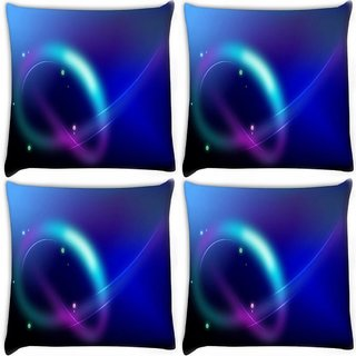 Snoogg Pack Of 4 Neon Pattern Design Digitally Printed Cushion Cover Pillow 10 x 10 Inch