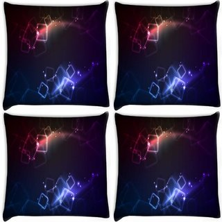 Snoogg Pack Of 4 Crystal Squares Digitally Printed Cushion Cover Pillow 10 x 10 Inch
