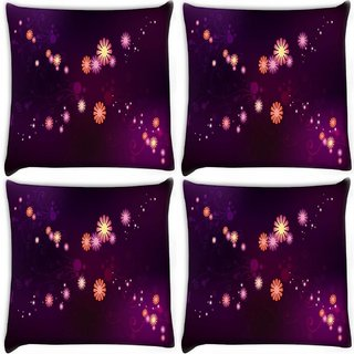Snoogg Pack Of 4 Abstract Small Flower Digitally Printed Cushion Cover Pillow 10 x 10 Inch