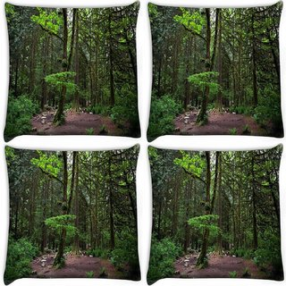 Snoogg Pack Of 4 Muddy Forest Digitally Printed Cushion Cover Pillow 10 x 10 Inch
