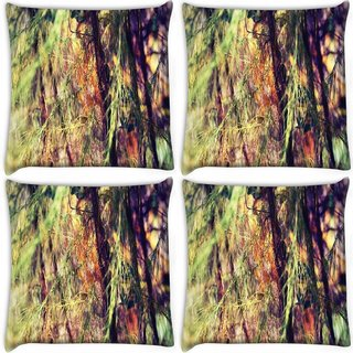 Snoogg Pack Of 4 Drying Leaves In Trees Digitally Printed Cushion Cover Pillow 10 x 10 Inch