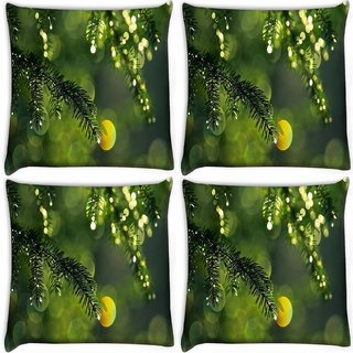 Snoogg Pack Of 4 Dew Drops In Trees Digitally Printed Cushion Cover Pillow 10 x 10 Inch