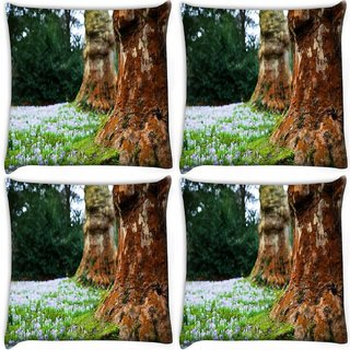 Snoogg Pack Of 4 Small White Flowers Digitally Printed Cushion Cover Pillow 10 x 10 Inch