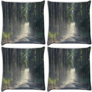 Snoogg Pack Of 4 Dense Road Digitally Printed Cushion Cover Pillow 10 x 10 Inch