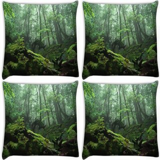 Snoogg Pack Of 4 Broken Tree With Grass Digitally Printed Cushion Cover Pillow 10 x 10 Inch