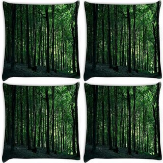 Snoogg Pack Of 4 Multiple Trees In Dense Forest Digitally Printed Cushion Cover Pillow 10 x 10 Inch