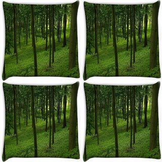 Snoogg Pack Of 4 Green Forest Digitally Printed Cushion Cover Pillow 10 x 10 Inch