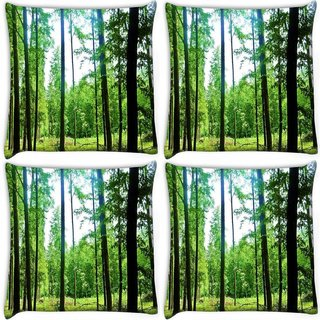Snoogg Pack Of 4 Thin Branched Tree Digitally Printed Cushion Cover Pillow 10 x 10 Inch