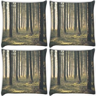 Snoogg Pack Of 4 Forest Surface Digitally Printed Cushion Cover Pillow 10 x 10 Inch