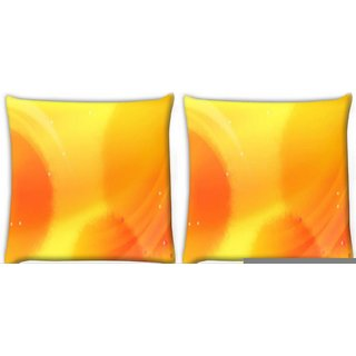 Snoogg Pack Of 4 Yellow Pattern Design Digitally Printed Cushion Cover Pillow 10 x 10 Inch