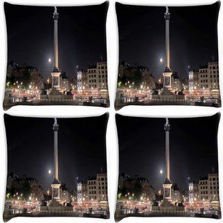 Snoogg Pack Of 4 Wonders In The City Digitally Printed Cushion Cover Pillow 10 x 10 Inch