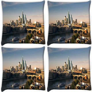Snoogg Pack Of 4 Lake Side Buildings Digitally Printed Cushion Cover Pillow 10 x 10 Inch