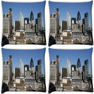 Snoogg Pack Of 4 Abstract Buildings Digitally Printed Cushion Cover Pillow 10 x 10 Inch