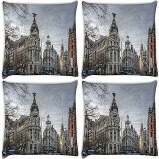 Snoogg Pack Of 4 Angel Building Digitally Printed Cushion Cover Pillow 10 x 10 Inch