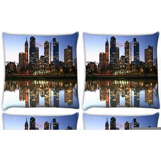 Snoogg Pack Of 4 River Side Buildings Digitally Printed Cushion Cover Pillow 10 x 10 Inch