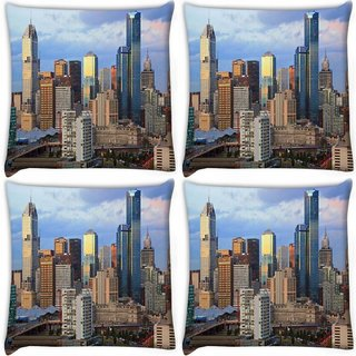 Snoogg Pack Of 4 Buildings Top Digitally Printed Cushion Cover Pillow 10 x 10 Inch