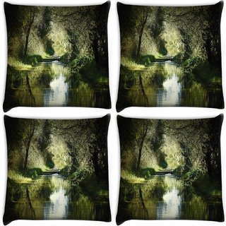 Snoogg Pack Of 4 Dense Lake Digitally Printed Cushion Cover Pillow 10 x 10 Inch