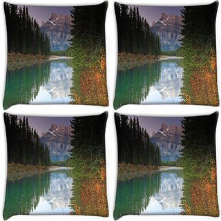Snoogg Pack Of 4 Reflecting Water Digitally Printed Cushion Cover Pillow 10 x 10 Inch