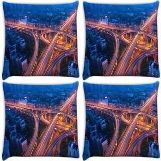 Snoogg Pack Of 4 Zig Zag Roads At Night Digitally Printed Cushion Cover Pillow 10 x 10 Inch