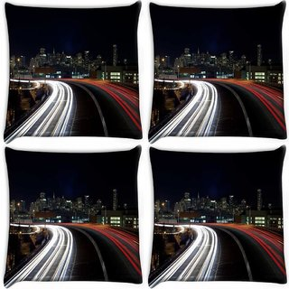 Snoogg Pack Of 4 Colorful Roads At Night Digitally Printed Cushion Cover Pillow 10 x 10 Inch