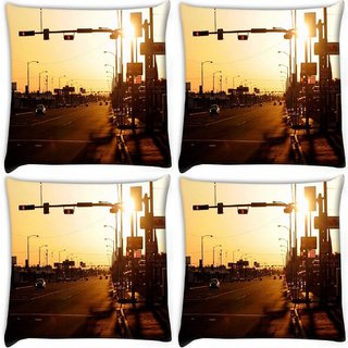 Snoogg Pack Of 4 Evening Roads Digitally Printed Cushion Cover Pillow 10 x 10 Inch