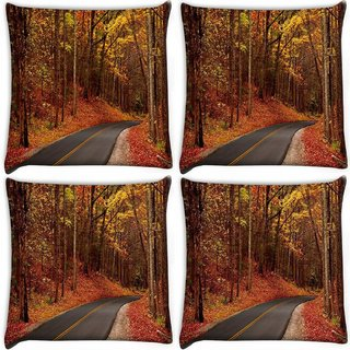 Snoogg Pack Of 4 Orange Junglee Digitally Printed Cushion Cover Pillow 10 x 10 Inch