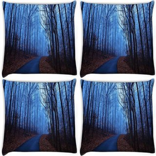 Snoogg Pack Of 4 Trees Without Leaves Digitally Printed Cushion Cover Pillow 10 x 10 Inch