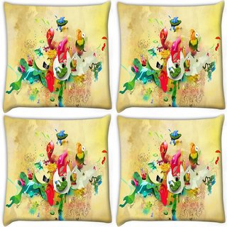 Snoogg Pack Of 4 Paint Splash Digitally Printed Cushion Cover Pillow 10 x 10 Inch