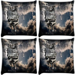 Snoogg Pack Of 4 Waste Wants Digitally Printed Cushion Cover Pillow 10 x 10 Inch