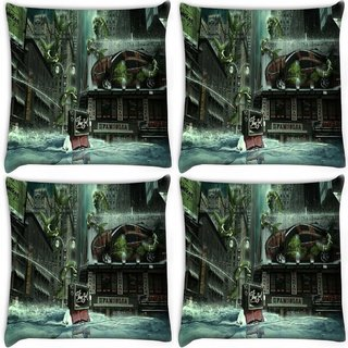 Snoogg Pack Of 4 The End Digitally Printed Cushion Cover Pillow 10 x 10 Inch