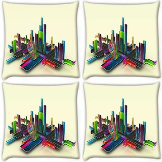 Snoogg Pack Of 4 Abstract Streets Digitally Printed Cushion Cover Pillow 10 x 10 Inch