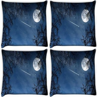 Snoogg Pack Of 4 Falling Stars Digitally Printed Cushion Cover Pillow 10 x 10 Inch