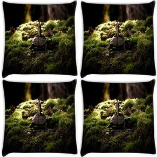 Snoogg Pack Of 4 Small Tortoise Digitally Printed Cushion Cover Pillow 10 x 10 Inch
