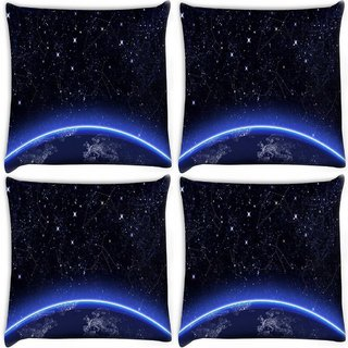 Snoogg Pack Of 4 Abstract Stars Digitally Printed Cushion Cover Pillow 10 x 10 Inch