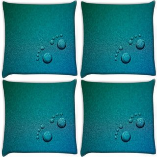 Snoogg Pack Of 4 Small Foot Prints Digitally Printed Cushion Cover Pillow 10 x 10 Inch