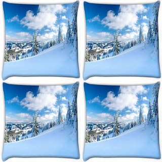Snoogg Pack Of 4 Snow Island Digitally Printed Cushion Cover Pillow 10 x 10 Inch