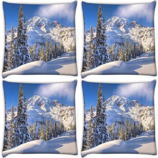 Snoogg Pack Of 4 Snow Falling Island Digitally Printed Cushion Cover Pillow 10 x 10 Inch