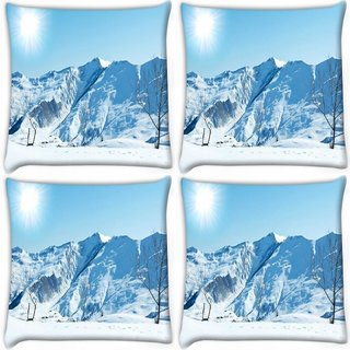 Snoogg Pack Of 4 Sun And Snow Digitally Printed Cushion Cover Pillow 10 x 10 Inch