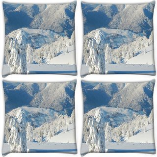 Snoogg Pack Of 4 Snow Trees Digitally Printed Cushion Cover Pillow 10 x 10 Inch