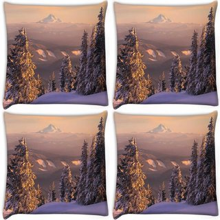 Snoogg Pack Of 4 Trees With Snow Digitally Printed Cushion Cover Pillow 10 x 10 Inch