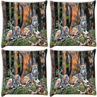 Snoogg Pack Of 4 Snow Dogs Digitally Printed Cushion Cover Pillow 10 x 10 Inch