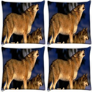 Snoogg Pack Of 4 Dog Roaring Digitally Printed Cushion Cover Pillow 10 x 10 Inch