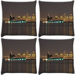 Snoogg Pack Of 4 Big Samreen Digitally Printed Cushion Cover Pillow 10 x 10 Inch