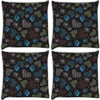 Snoogg Pack Of 4 Blue Heart And Butterfly Digitally Printed Cushion Cover Pillow 10 x 10 Inch