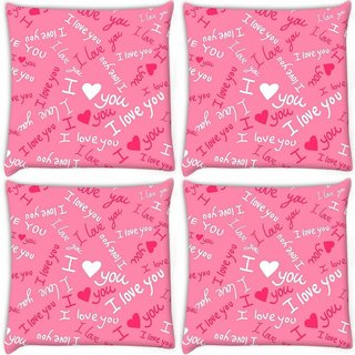 Snoogg Pack Of 4 I Love You Pink Pattern 1 Digitally Printed Cushion Cover Pillow 10 x 10 Inch