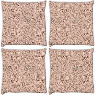 Snoogg Pack Of 4 Love Birds Cream Pattern Digitally Printed Cushion Cover Pillow 10 x 10 Inch