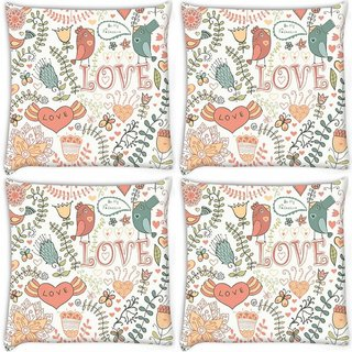 Snoogg Pack Of 4 Love Colorful Birds Digitally Printed Cushion Cover Pillow 10 x 10 Inch