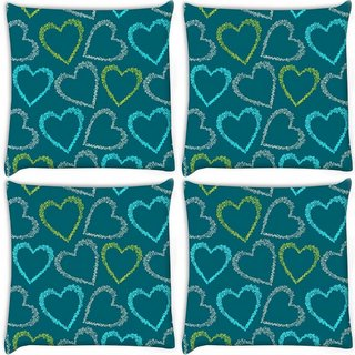Snoogg Pack Of 4 Colorful Hearts Green Pattern Digitally Printed Cushion Cover Pillow 10 x 10 Inch